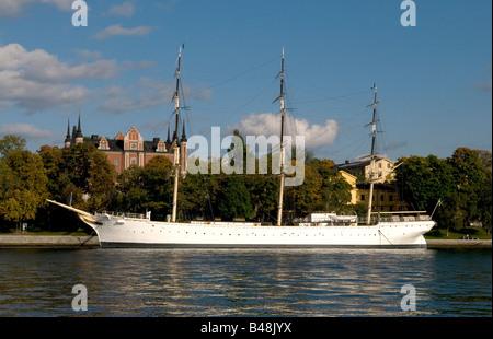 Sailing vessel Af Chapman moored at Skeppsholmen in Stockholm - Stock Photo