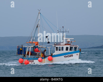 Fisherman sorting the catch as the trawler heading into Harbour. - Stock Photo