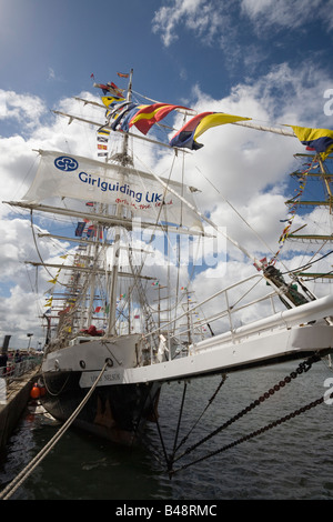 Lord Nelson three masted Barque 1985 from UK in Tall Ships race berthed at Wellington Dock Liverpool Merseyside - Stock Photo