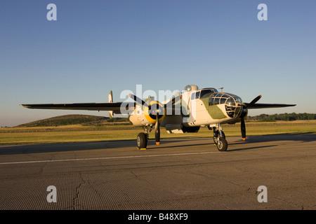 B25 on display at Willow Run airport Thunder over Michigan airshow - Stock Photo