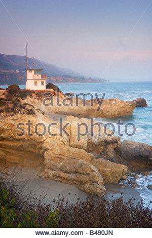 Lifeguard Station at Leo Carrillo State Beach Malibu California - Stock Photo