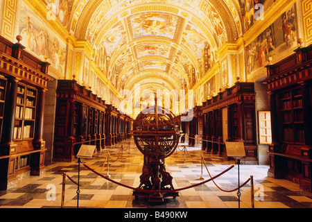 Spain - Madrid - El Escorial - Royal Monastery of San Lorenzo -  El Real Library - Globe - Stock Photo