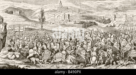 The Battle of Spurs or Battle of Guinegate France August 16 1513 - Stock Photo