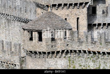 Close-up of the Montebello castle in Bellinzona, the capital of the Tessin region in Switzerland. - Stock Photo