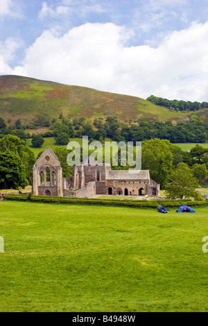Valle Crucis 13th century Abbey and campsite near Llangollen, Denbighshire Wales Great Britain UK 2008 - Stock Photo