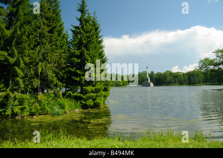 Chesma Column on Great Pond of Catherine park, Tsarskoe Selo (Pushkin), St. Petersburg, Russia - Stock Photo
