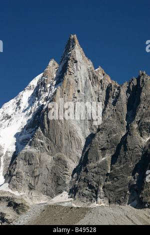 Les Drus, spectacular peaks, viewed from Montenvers, near Chamonix Mont-Blanc in the French Alps. - Stock Photo