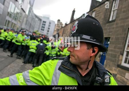 London police on duty during demonstration in Edinburgh, Scotland, UK - Stock Photo