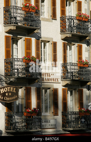 The Hotel Chamonix in the town centre of Chamonix Mont-Blanc, French Alps. - Stock Photo