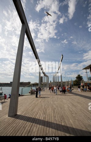 Rambla de Mar Port Vell Barcelona Catalunya Spain - Stock Photo