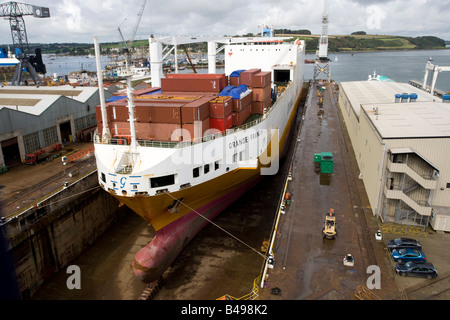 Grande Francia container cargo ship in dry dock Grimaldi Lines Falmouth Docks Cornwall UK - Stock Photo