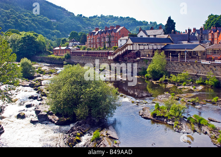 View of the river Dee and Llangollen railway station, Llangollen, Denbighshire North Wales Great Britain UK 2008 - Stock Photo