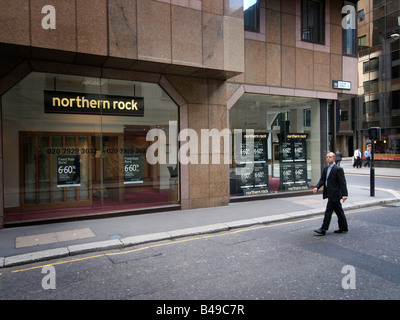 Northern Rock bank branch Cutler Street London UK - Stock Photo