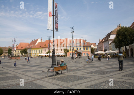 Sibiu Hermannstadt Transylvania Romania Europe September The wide open space of Piata Mare in historic city centre - Stock Photo