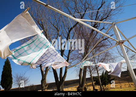 Tea towels on the washing line blowing in the wind Movement on the Towels - Stock Photo