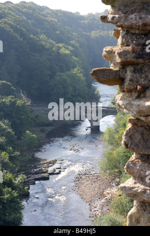 A bridge and the River Swale from the castle, Richmond, North Yorkshire. - Stock Photo