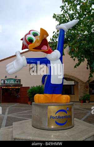the 'woody woodpecker' statue at the entrance to portaventura theme park at salou in spain - Stock Photo