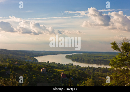 Along the Danube River in the Vojvodina region of northern Serbia looking north towards the city of Novi Sad - Stock Photo