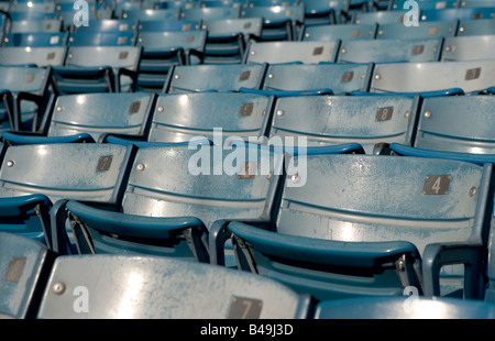 Empty blue stadium seats These are Yankee Stadium seats and were photographed on the last month of their use in - Stock Photo