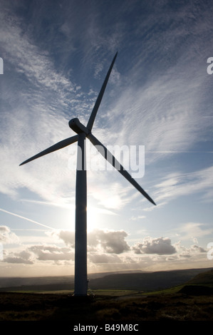 Scout Moor wind turbines, Lancashire, UK. Holcombe Moor, Peel Tower and Winter Hill beyond. - Stock Photo