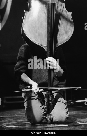 Orchestre de Contrabasses, French band (Jazz), live performance, Stuttgart, April 1998, Additional-Rights-Clearances - Stock Photo
