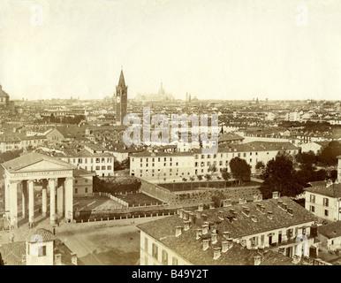 geography / travel, Italy, Milan, city views / cityscapes, circa 1885, - Stock Photo