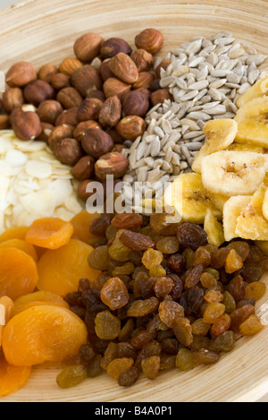 Plate of dried fruits and nuts - Stock Photo