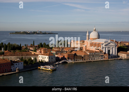 Sailing along the Giudecca canal, Venice, Italy. - Stock Photo