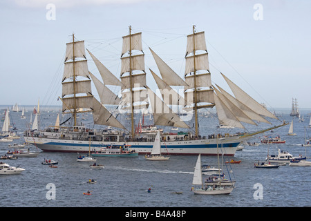 Mir square rigged training ship Funchal 500 Tall Ships Regatta Pendennis Point Falmouth Cornwall UK - Stock Photo