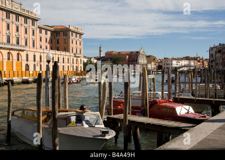 Side walk on the Grand Canal, Venice, Italy. - Stock Photo