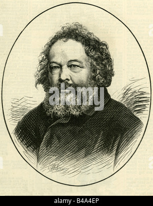 Bakunin, Mikhail Alexandrovich, 18.5.1814 - 1.7.1876, Russian revolutionary, portrait, engraving, 1876, , Additional - Stock Photo