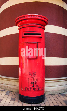 'Red British Post Box left from colonial period in Hong Kong China' - Stock Photo
