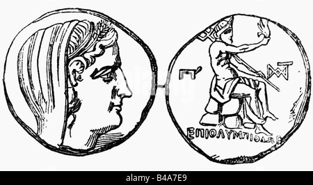 money/finance, coins, ancient world, Greece, Byzantium, tetradrachma, 240 - 220 BC, front: head of Demeter, reverse: - Stock Photo