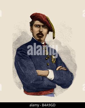 Carlos Maria de los Dolores, 30.3.1848 - 18.7.1909, clairmant to the Spanish Throne 13.1.1861 - 18.7.1909, portrait, - Stock Photo