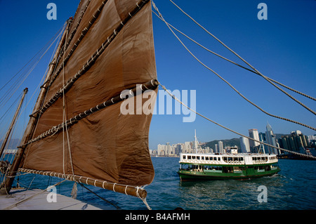 China, Hong Kong, Chinese Junk, Star Ferry - Stock Photo