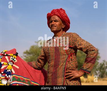 India, Rajasthan, Jaipur Man In Rajasthani Costume - Stock Photo
