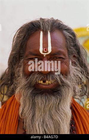 India, Udaipur, Rajasthan, Sadhu, Holy Man - Stock Photo