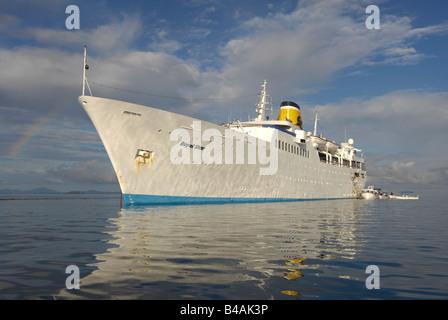 transport / transportation, navigation, cruise ship MS Royal Star, built: 1956, lying at Nosy Be, Madagascar, Additional - Stock Photo