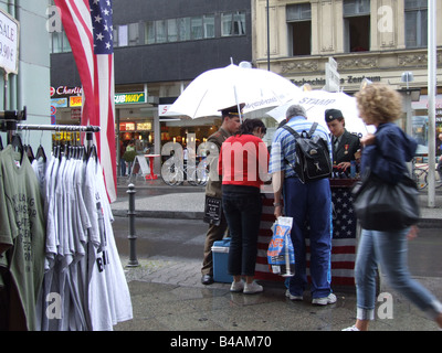 military check point charlie in berlin germany - Stock Photo