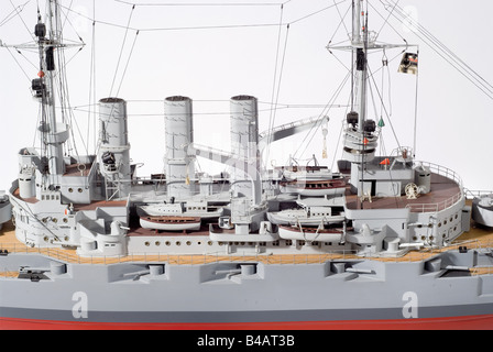The ship of the line SMS 'Deutschland', a complete remote controlled model, hand made from the original plans. Built - Stock Photo