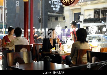 Chinatown Coffee Shop Shaftesbury Avenue London. - Stock Photo