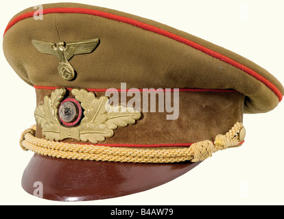 A visor cap for members of the Gauleitung., Brown gabardine with a brown velvet cap band (two small holes), red - Stock Photo