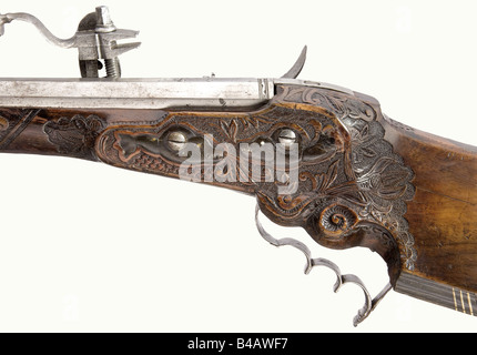 A wheellock rifle, German, circa 1680. Octagonal, slightly swamped barrel with six groove rifling in 12 mm calibre. - Stock Photo