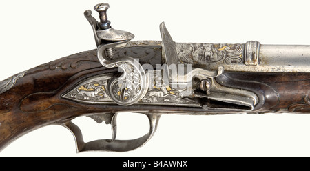 A flintlock hunting pistol, German, circa 1760. Round, three-stage barrel with a smooth bore in 12 mm calibre. There - Stock Photo