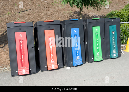 Colourful recycling containers Eden Project Bodelva St Austell Cornwall UK - Stock Photo