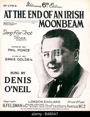 At The End of an Irish Moonbeam music sheet cover for the 1927 song fox trot sung by Denis O'Neil - Stock Photo