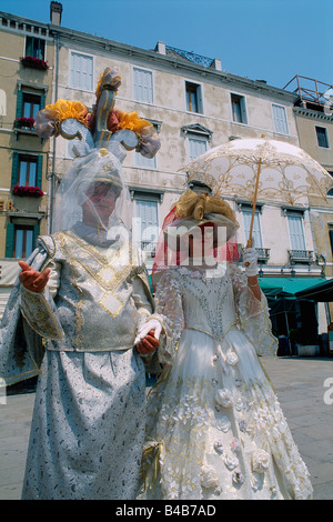 Italy  Venice  Masks  Carnival dressing-up white and gilding - Stock Photo