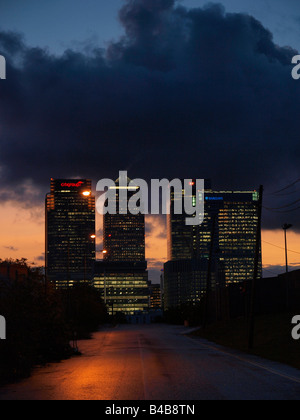 Canary Wharf bank towers at night vertical Docklands London UK - Stock Photo