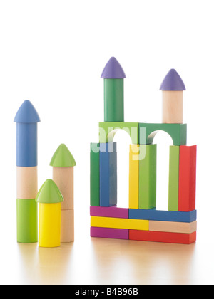 toy children's wooden building blocks - Stock Photo