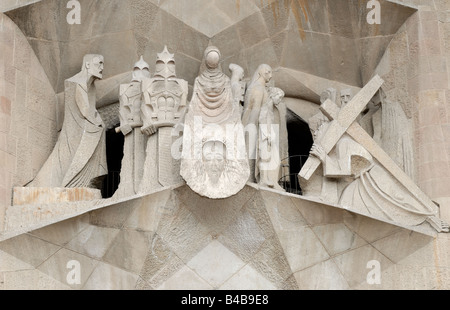 Statues at Sagrada Familia in Barcelona Spain - Stock Photo